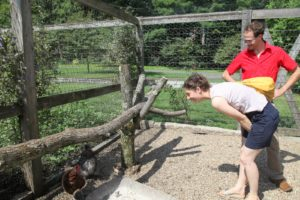 Down in the chicken coops, Inbar and Itamar admired my many unusual breeds of chickens.