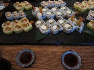 There was delicious food - Snow crab tempura rolls and fried shrimp tartar rolls