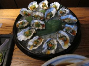 Raw oysters on the half-shell