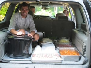The food on its way to the stable for the IOD reception - that's Tom, from the TV kitchen staff.
