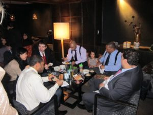 This is the band, including Wynton (wearing blue) having dinner before the performance.