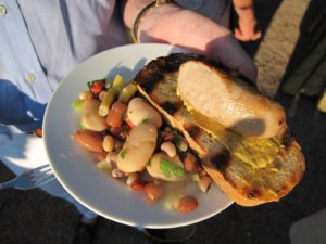 The amazing bean salad and bratwurst on crusty grilled bread