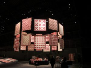 The innovative and exciting display of the quilts in the Armory space has been created by the award-winning NYC exhibition design firm Thinc Design.
