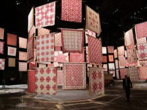 The largest number of designs on view are geometric pieced patterns.
