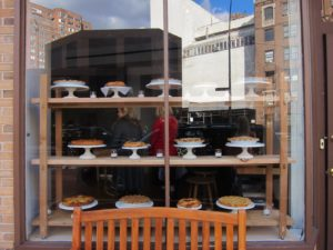 Looking into Little Owl - The Venue, where pies from our new Martha Stewart's Pies and Tarts are on display.