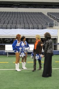 I was met by Dallas Cheerleaders Meredith Oden and Allyson 'Ally' Traylor.