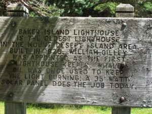 The sign describing the lighthouse - interesting that whale oil was once used to keep the light burning and is now powered by a 35 watt solar panel.