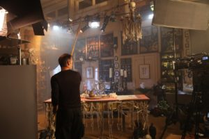 To fly the bats, we had professional puppeteers on set.
