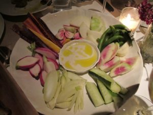 Farm to table crudite with a tasty anchovy dip