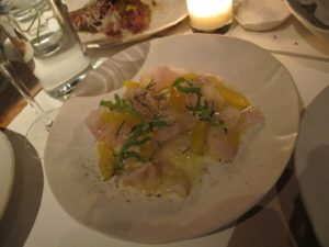 Shaved fluke with grapefruit - the sweetness of the fish melds perfectly with the acidity of the grapefruit.