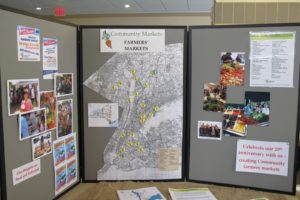 This map indicates that there are approximately 25 farmers' markets in the surrounding Bedford area.