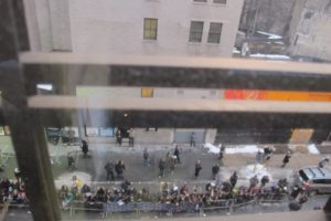 The view from my dressing room - Despite the freezing temperatures, the crowd outside was quite thick.