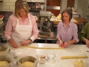 Elizabeth showed me how to twist paska dough to form the decorations.