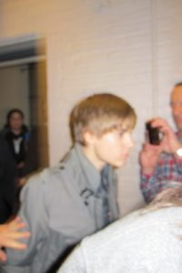 Justin Bieber was just a blur as he went on set to do the Top 10.
