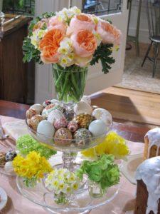 A lovely flower arrangement along with pysanky - Ukrainian decorated eggs