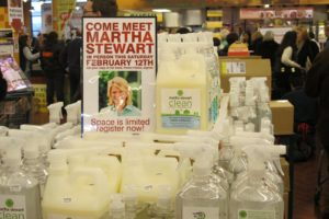 Our line of Martha Stewart Clean - excellent cleaning products, by the way - are sold at Fairway.