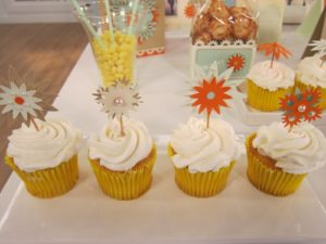 These cupcake picks are adorned with designs from the Star Burst Punches and our pearl embellishments.