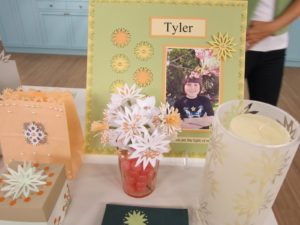 Lenore Bremner, one of our crafters, made a lot of these projects.  She designed a lovely tribute to her daughter, Tyler.