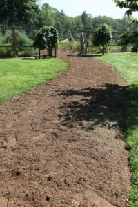 A nicely mulched pathway to the cutting garden.  By the way, this composted mulch was made right here on the property up at the composting area.