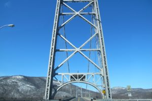 The Bear Mountain bridge carries one 12-foot-wide lane in each direction for US-6 and US-202.