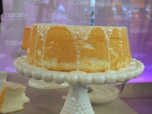 White icing atop an angel food cake - also great on pound cake