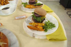 How mouth-watering does this grilled portobello mushroom burger look?  Practically no guilt!
