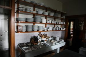 This is my 'Great Wall of China' - I took every white dish I could find in the cupboards and put them on display.