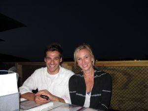 Thomas and Sarah at an outdoor table
