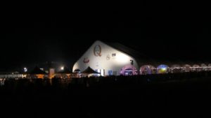 The venue for BubbleQ - a beautiful tent on a moonlit patch of white sand beach behind the elegant Delano hotel
