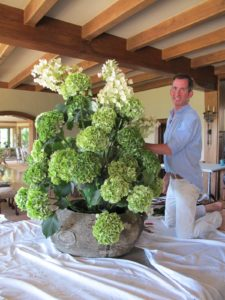 Kevin made an extraordinary arrangement of green, white, and pink hydrangeas.