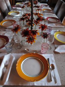 Saturday night dinner - the table was set with an autumn theme.