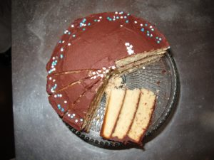 It was a yellow cake with chocolate icing.