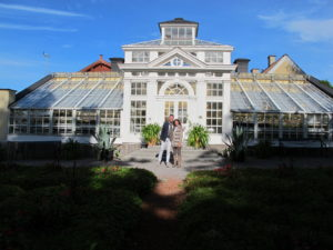 Kevin Sharkey and Jill Dienst, my traveling companions, posing in front of the castle greenhouse, where the tropical plants used throughout the castle are kept in the winter months.