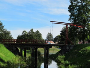 An old fashioned drawbridge used to get over the moat