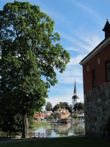 A pleasing view over the moat and into the town of Mariefred, where Gripsholm Castle is located