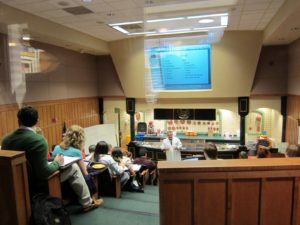 This is the Anheuser Busch Theater, a demo classroom where students study product identification and purchasing.