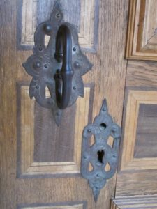 Heavy iron hardware, with every room boasting different patterns