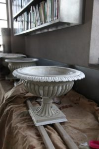In the head house, urns were being painted that day.