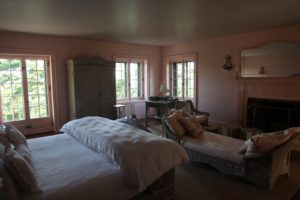A very romantic bedroom - The high ceilings throughout the cottage, by the way, were painted a soft gray.