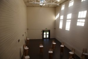 This former handball court has been converted into a great ballroom.