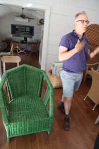 John finds inspiration by studying vintage pieces of furniture.  He was drawn to this old piece of wicker and may use certain of its design elements for his line.
