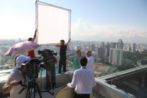 Luckily, our TV crew was very comfortable working high above the ground.