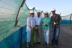 Memrie, Moshe, me, and Jaron - I definitely want to visit the SkyPark again when it's complete.