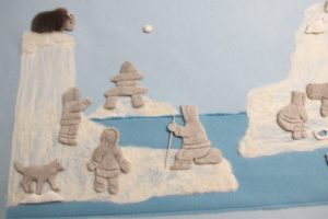 The icebergs were then filled in with felting material.
