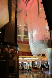 This is the view of The Chandelier from the Casino Floor at The Cosmopolitan of Las Vegas.