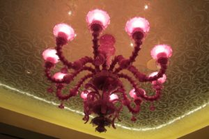 A very pink chandelier in the East Tower