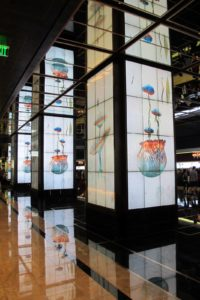 In the lobby of The Cosmopolitan of Las Vegas are eight giant columns that display amazing digital images.  The columns showcase digital works by The Rockwell Lab, Digital Kitchen, and The Art Production Fund.