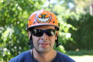 Leo wears a 'fierce' protective helmet.