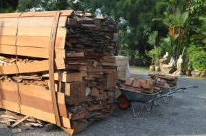 To fire up the 130-foot kiln, mounds of wood are required!