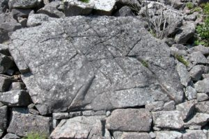 Many of the huge granite rocks are marked with glacial scrapes.